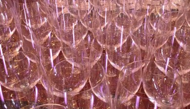Many wine glasses