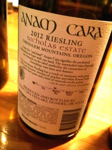 2012 Anam Cara Riesling back label