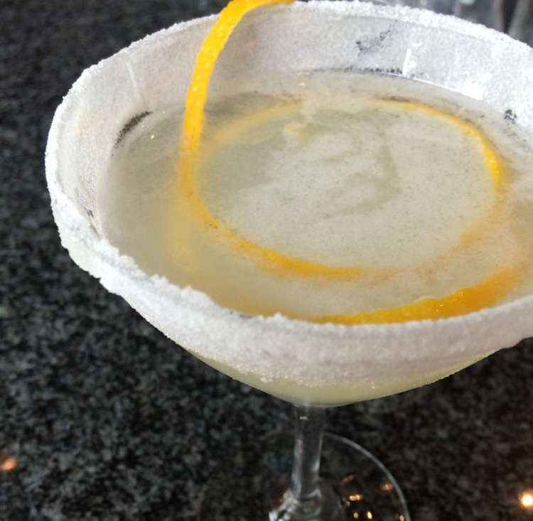 Pear Brandy Sidecar with sugar rim