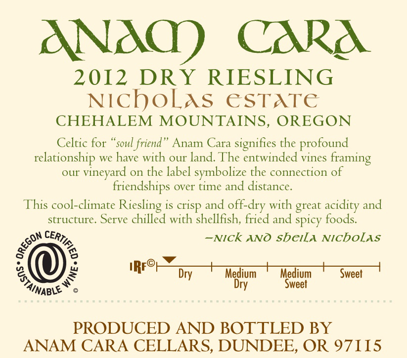 2012 Anam Cara Dry Riesling