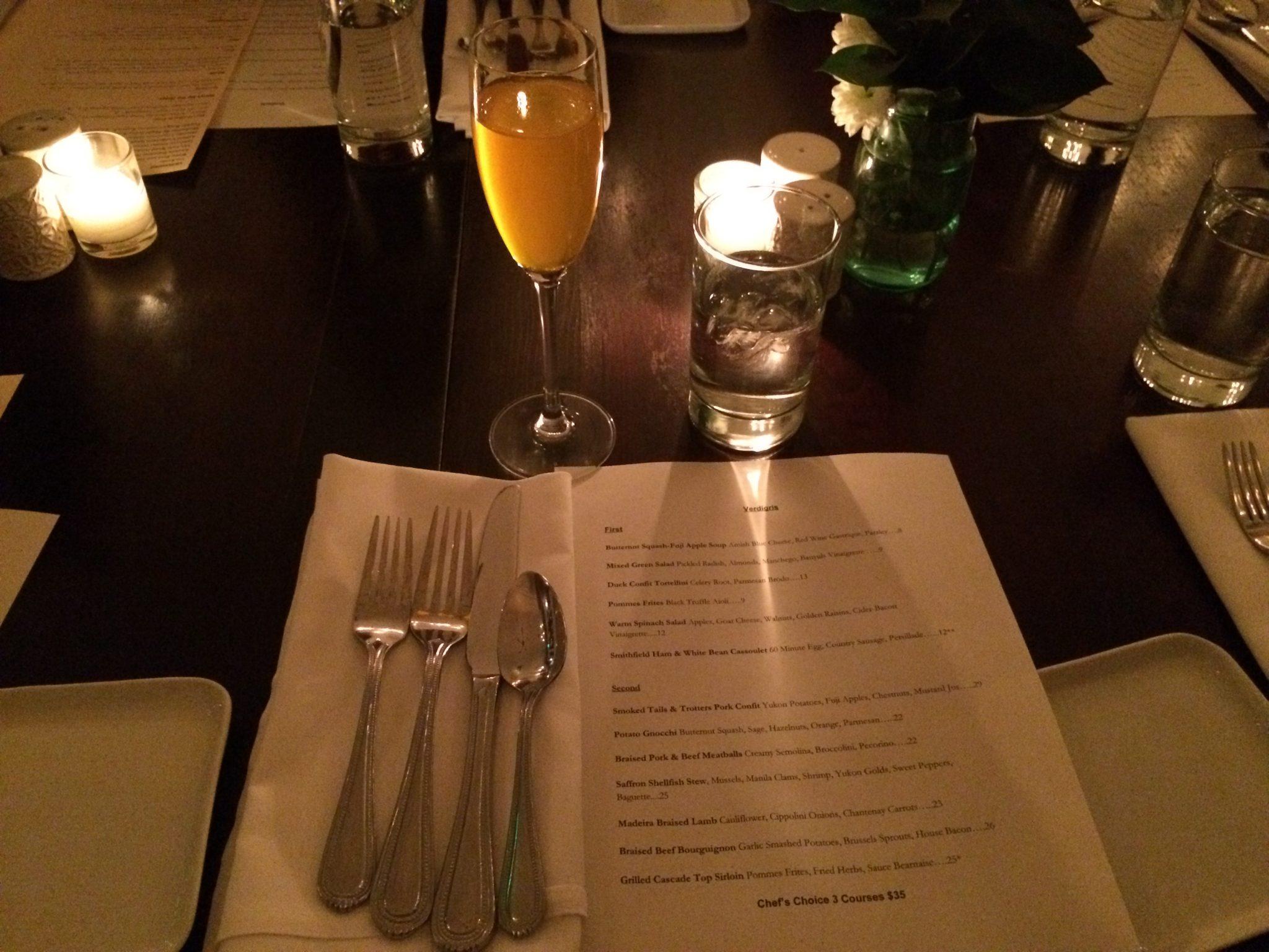 Dinner at Verdigris