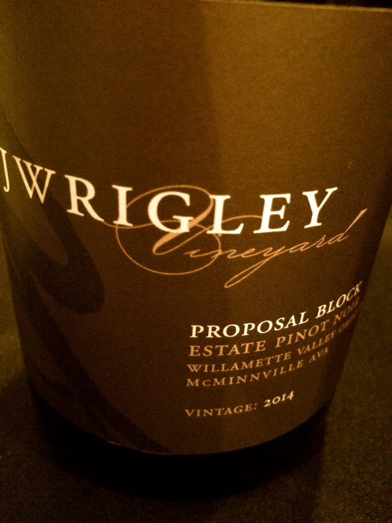 2014 J. Wrigley Vineyard Proposal Block Pinot noir